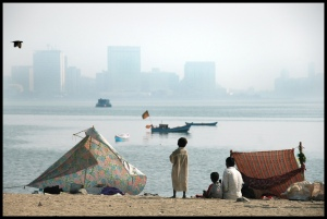 Chowpatty Inequality:  Looking out across the bay at some of the most expensive land in the world, by Shreyans Bhansali