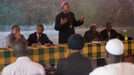 Photo 2 - Archbishop Dieudonné Nzapalainga speaking during a peace and reconciliation meeting
